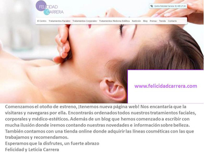 Los centros de #estética y #medicinaestética #FelicidadCarrera estrenan web
