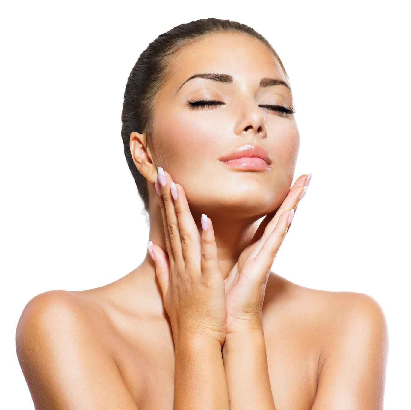 21386651 - beauty portrait  beautiful spa woman touching her face