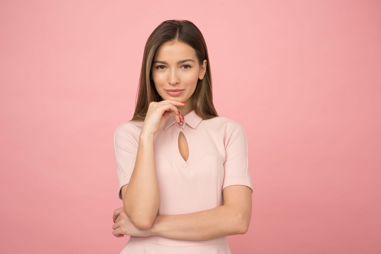 woman wearing pink collared half sleeved top 1036623 scaled 1